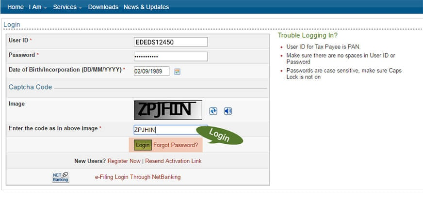 Screenshot IncomeTaxLogin2