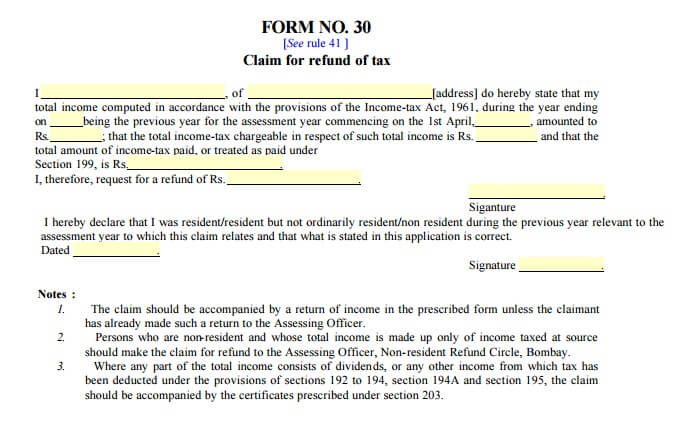 Form 30 Income Tax Refund  Income Assessment Form